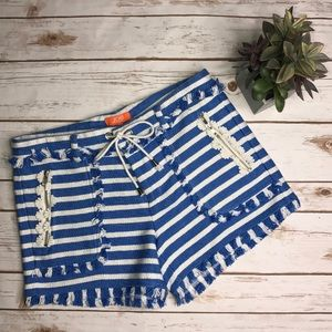 JOE FRESH Blue/White Striped Fringe Shorts- 8